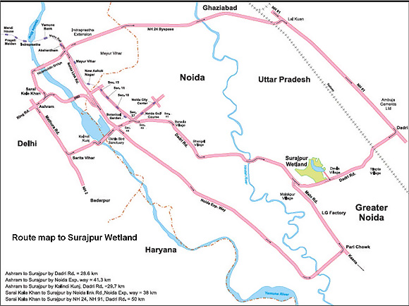 Surajpur Wetland-Location Map